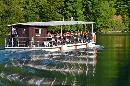 PLITVICE LAKES, CROATIA - SEPTEMBER 5, 2017: The Plitvice Lakes National Park is a UNESCO listed and the most visited national in Croatia.