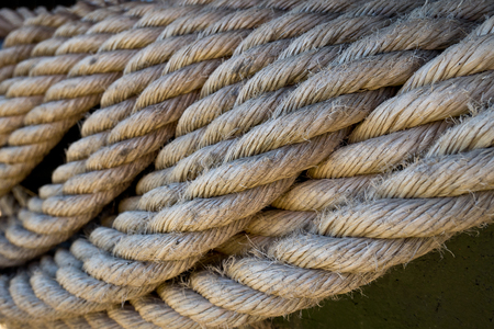 Detail of a old used jute rope Фото со стока