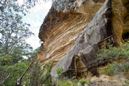 Wind Eroded Cave in Blue Mountains in Australia. Stock Photo