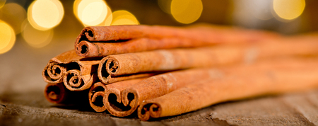 cinnamon on wooden table 写真素材