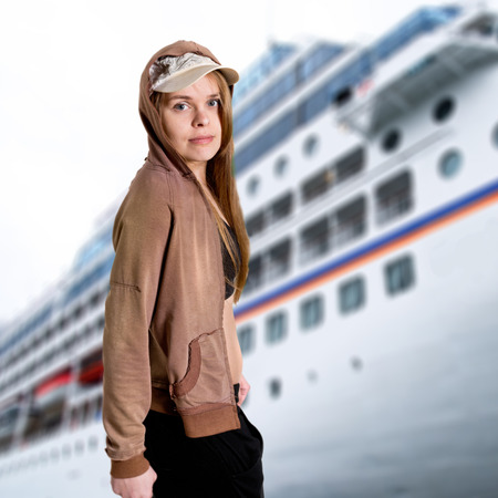 Portrait of a teenager girl in front of a boat Reklamní fotografie