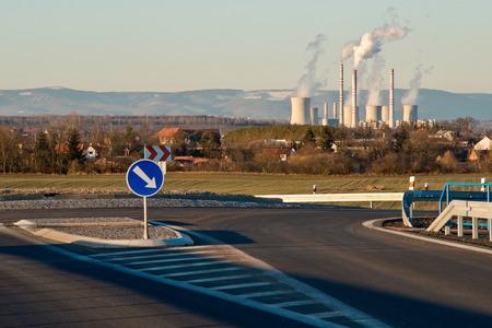 New highway with Pocerady power station. Czech Republic. Imagens
