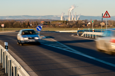 New highway with Pocerady power station. Czech Republic. 写真素材