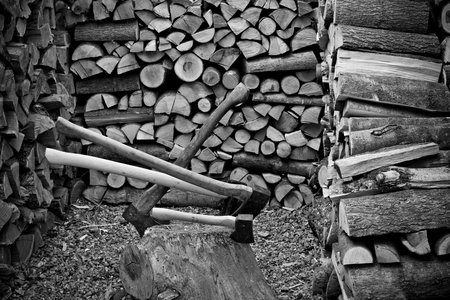 A old axe with fire wood 写真素材