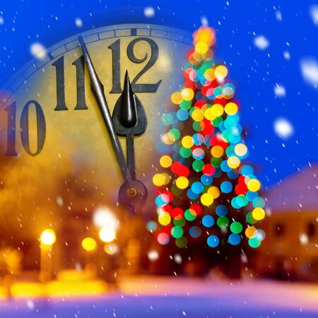 New year clock with decoration.
