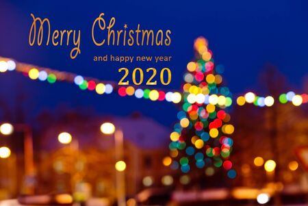 Christmas Background with text Merry Christmas 2020