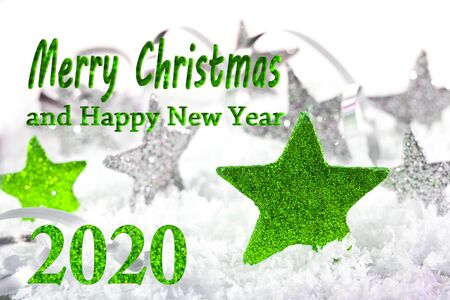 Christmas stars with text Merry Christmas 2020