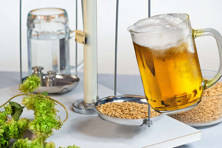 Home Brewing of Beer. Beer glass and raw material for beer production. Reklamní fotografie