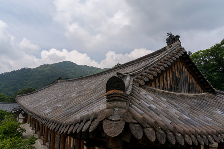 rooftiles: Traditional Korean temple rooftiles in Haeinsa, South Korea