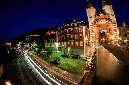 theodor: Cars passing under the bridge Karl Theodor taken in Heidelberg, Germany