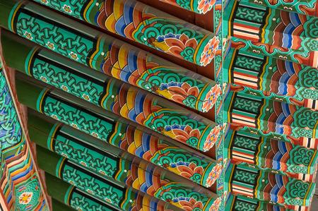 buddhist temple roof: Buddhist temple roof painting  Taken in Baegyangsa, South Korea