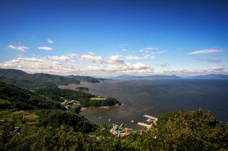 View of coastline of dolsan island of yeosu, south korea