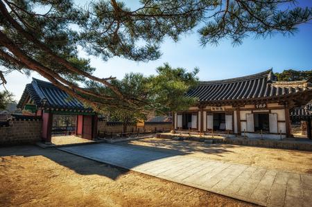 Ojukheon courtyard taken during winter. Gangneung, South Korea. Editorial