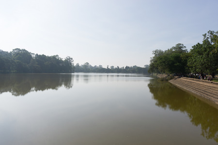 siem reap: Angkor Wat Gateway reflection in Siem Reap Stock Photo