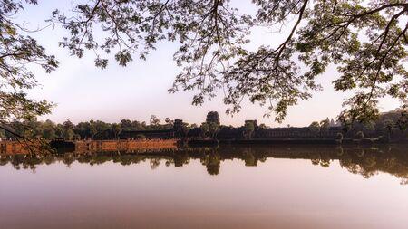 siem reap: Angkor Wat reflection in Siem Reap