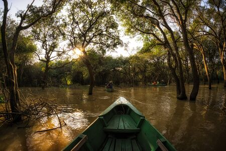 tonle sap: Riding a canoe in Tonle Sap Mangrove Forest river boat tour. Stock Photo