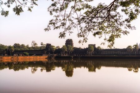 gateway: Angkor Wat Gateway reflection in Siem Reap Stock Photo