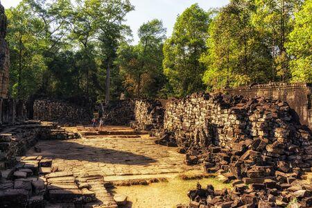 bayon: Bayon temple and ruins in Angkor Wat, Siem Reap.