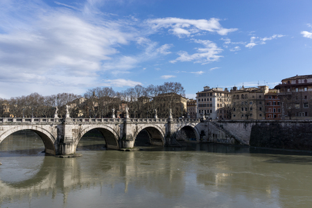 vatican city: Sant Angelo bridge taken from near the Vatican city area. Stock Photo