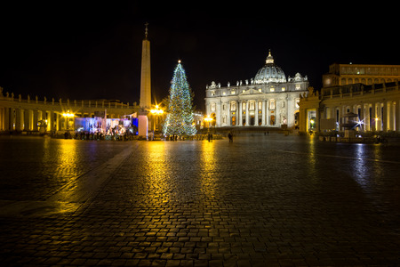 peters: Saint Peters Plaza and nativity scene taken at night with the view of the Basilica.