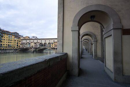 corridors: Corridors along the street next to Ponte Vecchio in Florence, Italy