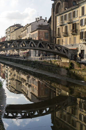 Navigli District Canal reflection scene in Milan, Italy.