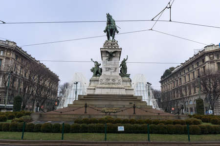 garibaldi: Monument to garibaldi near expo gate in milan Stock Photo