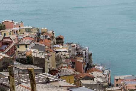 spezia: View of manarola from the trail 531 in Cinque Terre, Italy. Stock Photo