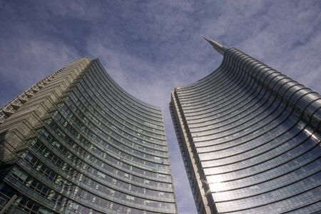 Unicredit tower skyscraper taken from Gae Aulenti Square in Milan, Italy.
