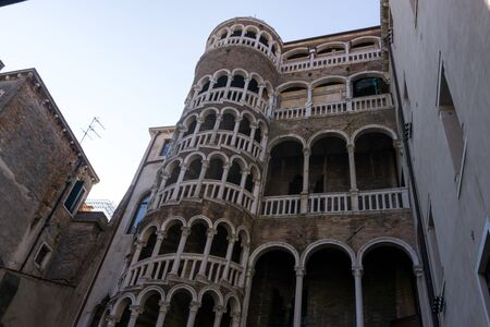 scala: looking up at the bovolo staircase in Venice, Italy