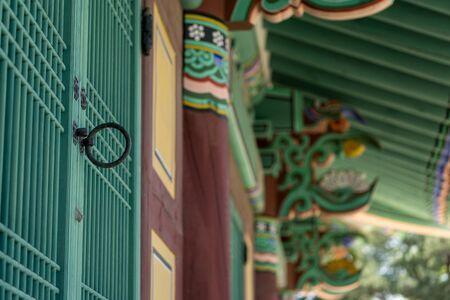 door knob: Traditional korean door knob in  a historical temple in Gangneung, South Korea.