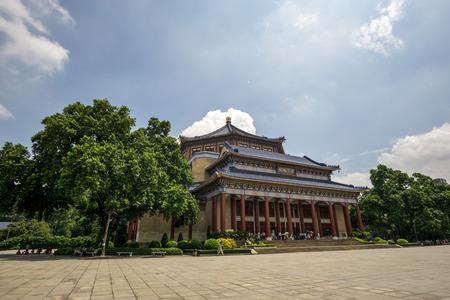 yat: doctor sun yat sen memorial hall in guangzhou china taken during summer.