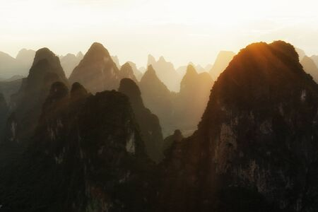 karst: Karst Mountain peaks in Guilin, China Stock Photo
