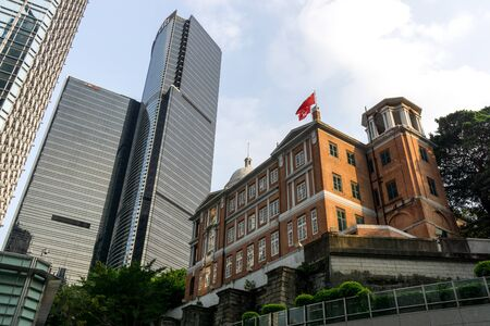 viewed from behind: former french mission building located on government hill. viewed from behind on the street. Taken in Hongkong