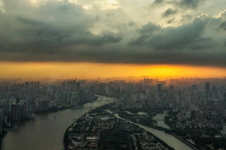 observation: The view of Guangzhou from canton tower observation viewdeck.  China