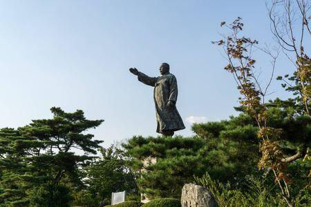 Kim gu statue in Baekbeom square in seoul south korea near namsan park area.