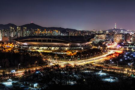 crossway: mapo province of seoul taken at night during rushhour. Stock Photo