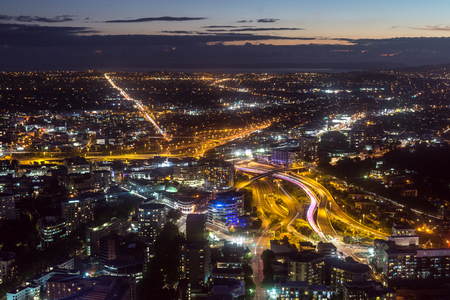 auckland city night view taken from skytower observation deck. Taken in Auckland, New Zealand.