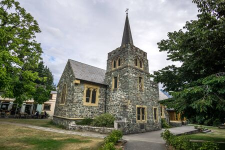 anglican: a small anglican church in queenstown new zealand. Taken during summer. Stock Photo