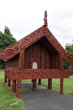 maories: almacenamiento maor� tradicional en gira en Te Puia Rotorua Nueva Zelanda.