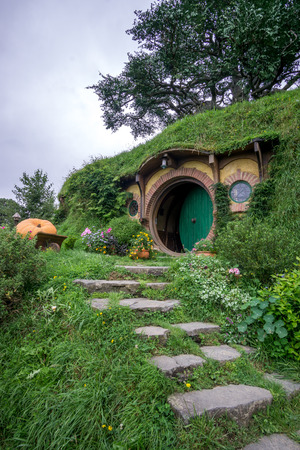 bilbo: bilbo baggins home and hobbit garden in hobbiton movie set, new zealand. Taken during summer.