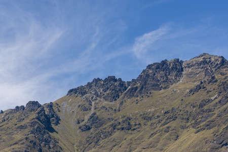 wakatipu: mountains around lake wakatipu viewed from tss earnslaw in new zealand. Taken during summer. Stock Photo