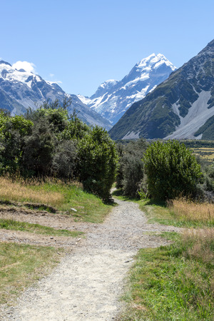 mountaintops: Kea Point track trail with the view of mount cook and mountaintops. Taken during summer in New Zealand. Stock Photo