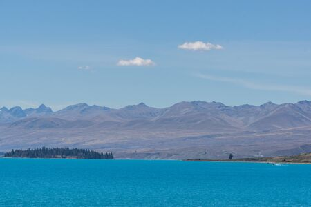 tekapo: lake tekapo open view taken during summer in new zealand.