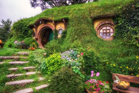 bilbo baggins home and hobbit garden in hobbiton movie set, new zealand. Taken during summer.