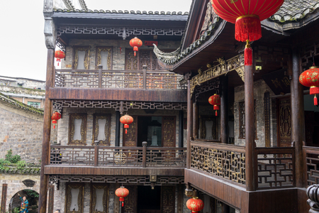 rooftiles: fenghuang ancient city museum architectural view. Traditional roof tiles and gallery. Stock Photo