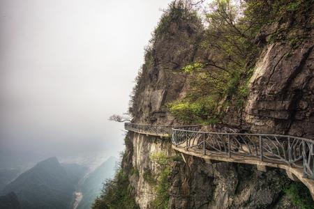 tianmen mountain viewpoint from cliff hanging walkway. tianmen mountain is located in zhangjiajie, china.