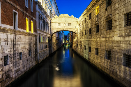 Bridge of Sighs taken early in the morning with the reflection on the canal. Taken at night
