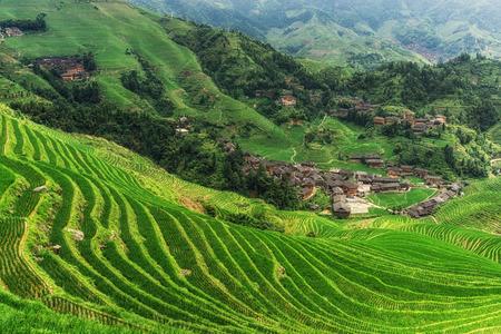 天に視点数 2 千層からみた dazhai 村。龍勝、中国 写真素材