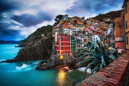 winter sunrise: Riomaggiore one of small italian towns in Cinque terre taken near the dock area during sunrise hours.